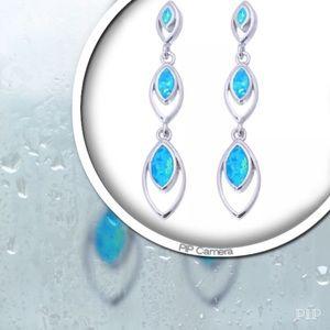 Jewelry - Dangly Blue Fire Opal Earrings